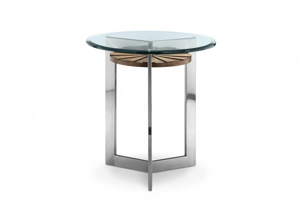 Rialto Modern Toffee Nickel MDF Wood Metal Glass Round End Table MG-T3805-05