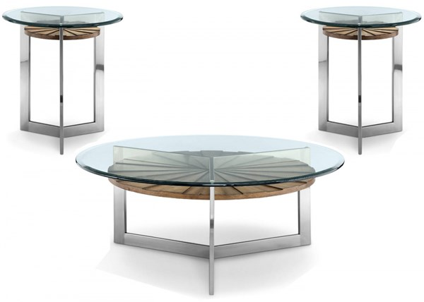 Rialto MDF Metal Glass 3pc Coffee Table Set w/Round Cocktail Table MG-T3805-OCT-S1