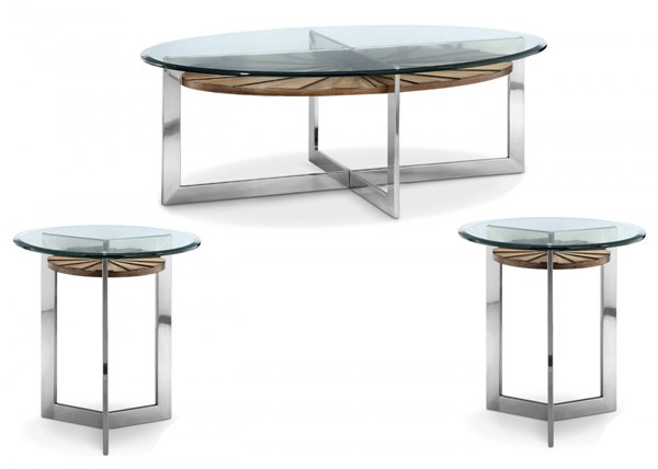 Rialto MDF Wood Metal Glass 3pc Coffee Table Set w/Oval Cocktail Table MG-T3805-OCT-S2