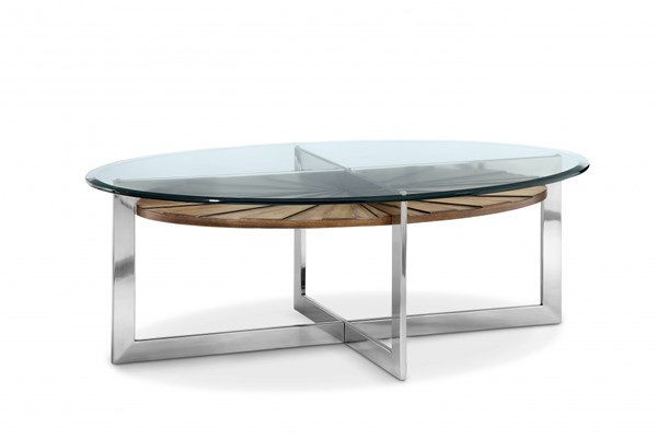 Rialto Modern Toffee Nickel MDF Wood Metal Glass Oval Cocktail Table MG-T3805-47