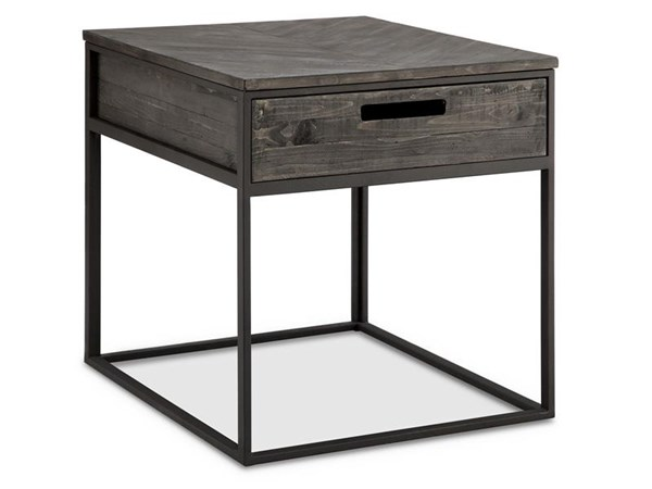 Claremont Transitional Charcoal Wood Metal Rectangular End Table MG-T4034-03