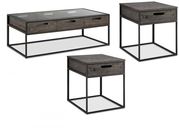 Claremont Transitional Charcoal Wood Metal Glass Coffee Table Set MG-T4034-OCT