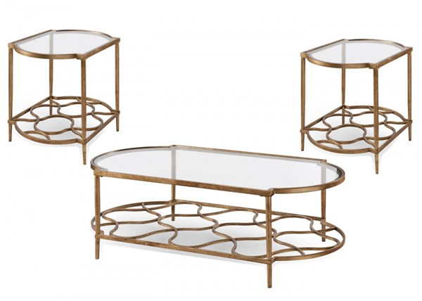 Bancroft Opulence Gold Leaf Metal Glass 3pc Coffee Table Set MG-T4038-OCT-S1