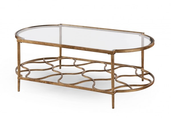 Bancroft Opulence Gold Leaf Metal Glass Rectangular Cocktail Table MG-T4038-43