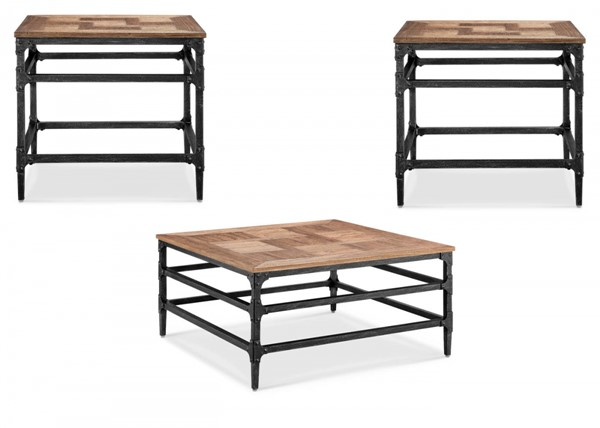 Dylan Umber Metal MDF 3pc Coffee Table Set w/Square Cocktail Table MG-T4041-OCT-S1