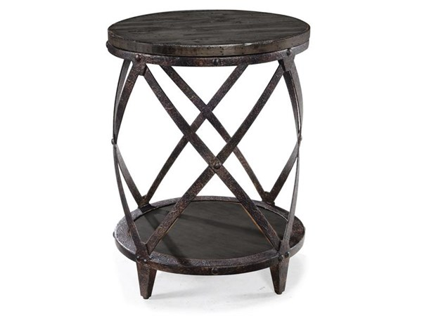 Milford Weathered Charcoal Gunmetal Wood Metal Round Accent Table MG-T4044-35
