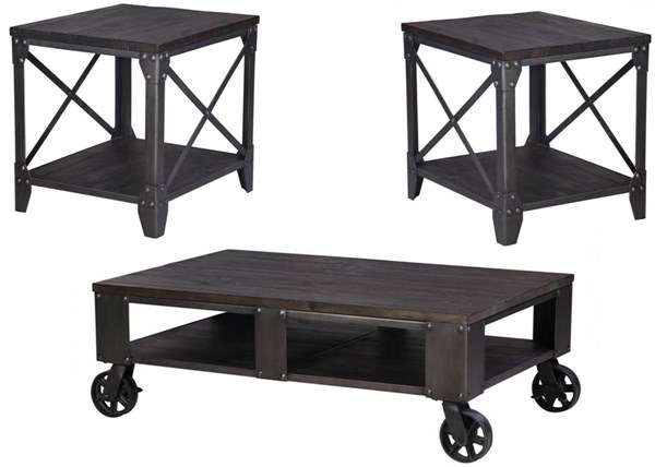 Milford Weathered Charcoal Gunmetal Wood Metal 3pc Coffee Table Set MG-T4044-OCT-S1