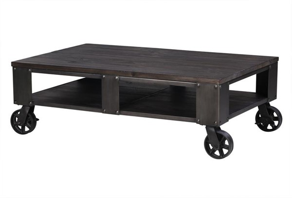 Milford Charcoal Gunmetal Wood Rectangular Cocktail Table w/2 Casters MG-T4044-43