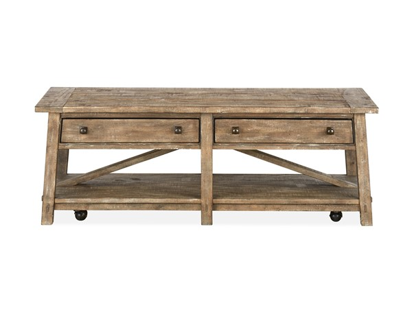 Magnussen Home Bluff Heights Weathered Nutmeg Rectangular Cocktail Table MG-T4597-43