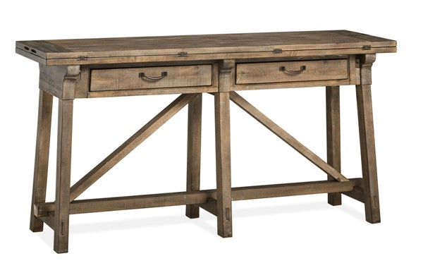 Magnussen Home Bluff Heights Weathered Nutmeg Flip Top Sofa Table MG-T4597-85