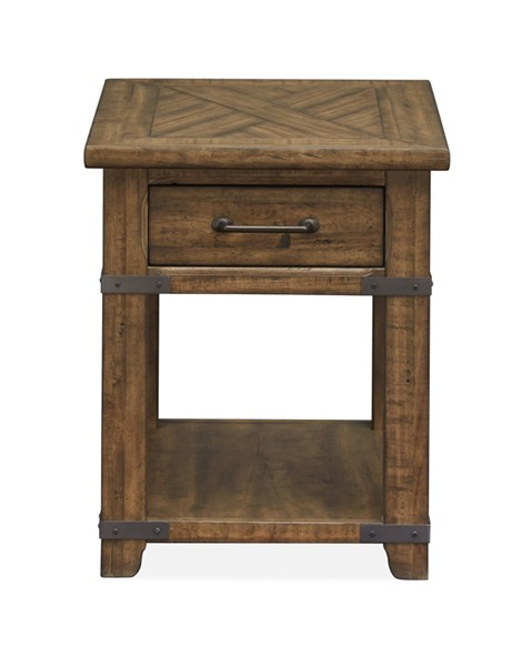 Magnussen Home Chesterfield Farmhouse Timber Rectangular End Table MG-T4717-03