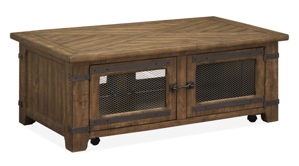 Magnussen Home Chesterfield Farmhouse Timber Lift Top Storage Cocktail Table MG-T4717-50
