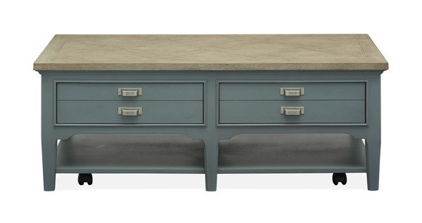 Magnussen Home Alys Beach Dark Teal Driftwood Rectangle Cocktail Table MG-T4865-43
