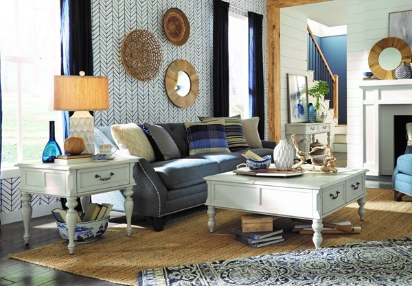 Magnussen Home Ava Distressed Cotton Square 3pc Coffee Table Set MG-T4912-OCT-S1