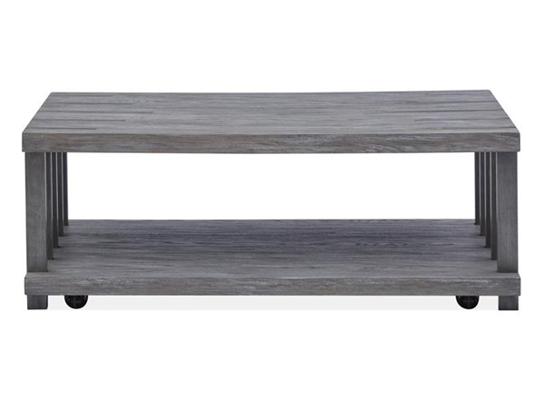 Magnussen Home Eldridge Weathered Gravel Rectangular Casters Cocktail Table MG-T4917-43