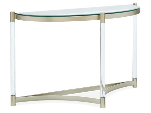 Magnussen Home Silas Platinum Clear Acrylic Demilune Sofa Table MG-T4984-75