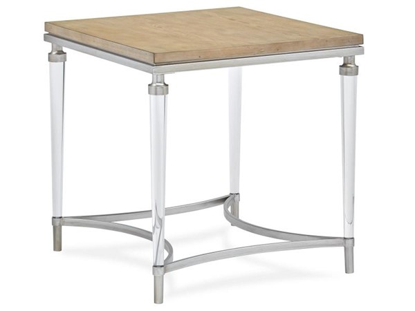 Magnussen Home Pascal Light Ash Brushed Silver Rectangular End Table MG-T5077-03