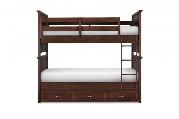 Riley Transitional Cherry Wood Twin/Twin Trundle Storage Bunk Bed MG-Y1873-70-90