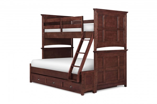 Riley Transitional Cherry Wood Twin/Full Trundle Storage Bunk Bed MG-Y1873-71-90