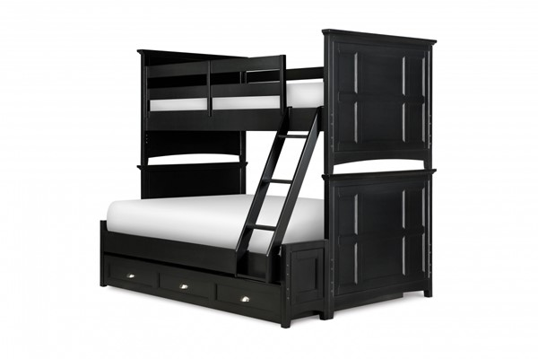 Bennett Transitional Black Wood Twin/Full Trundle Storage Bunk Bed MG-Y1874-71-90