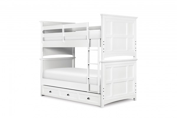 Kenley Cottage White Wood Twin/Twin Trundle Storage Bunk Bed MG-Y1875-70-90