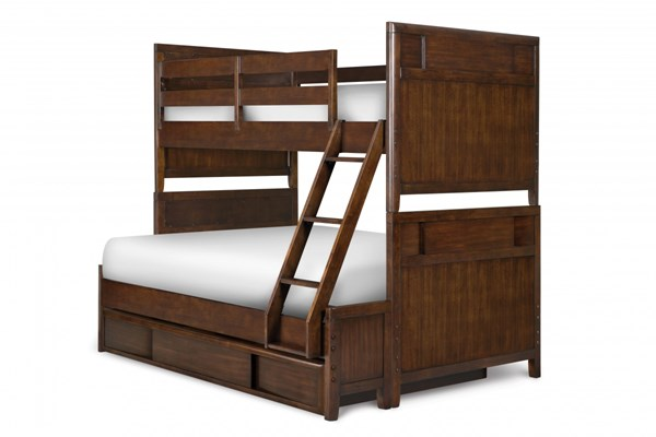Twilight Modern Chestnut Wood Twin/Full Bunk Bed w/Trundle Storage MG-Y1876-71-90