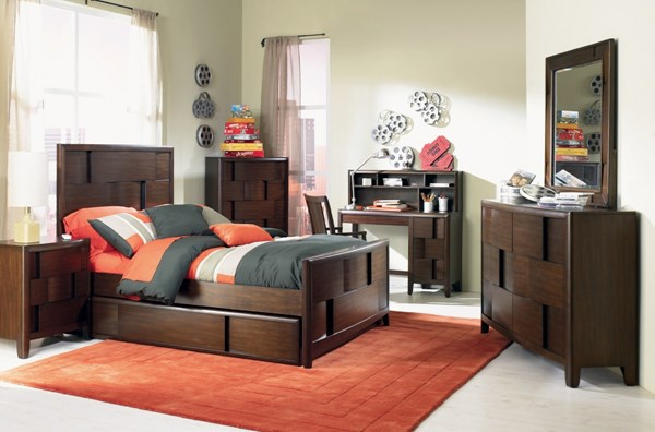 Twilight Casual Chestnut Wood 4pc Bedroom Sets MG-Y1876-S
