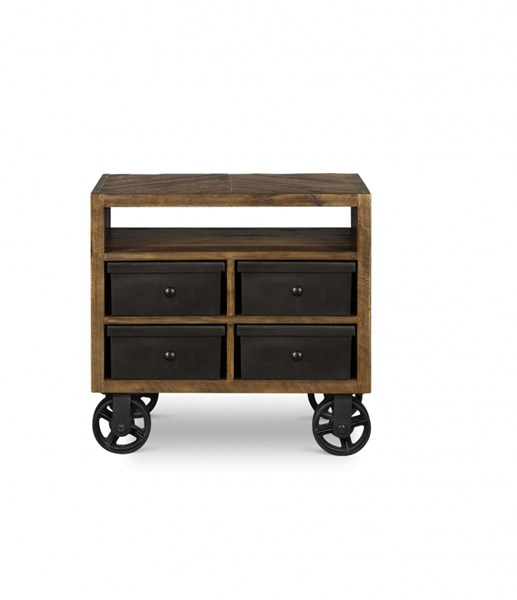 Braxton Transitional Natural Wood Drawer Nightstand w/Casters MG-Y2377-01