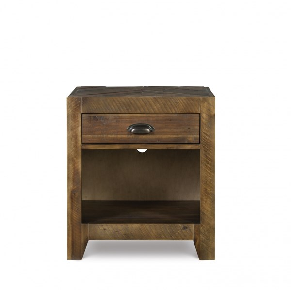Braxton Transitional Distressed Natural Wood Open Nightstand MG-Y2377-05