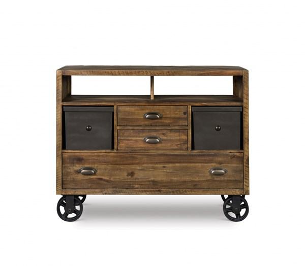 Braxton Transitional Distressed Natural Wood Media Chest w/Casters MG-Y2377-36