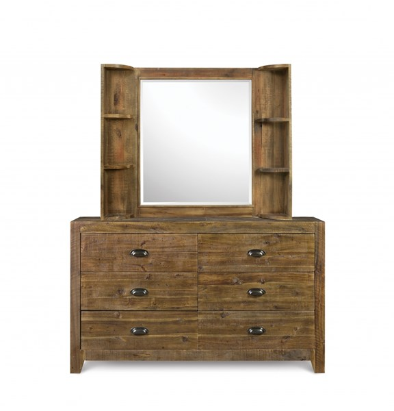 Braxton Transitional Natural Wood Glass Landscape Mirror w/Shelves MG-Y2377-48