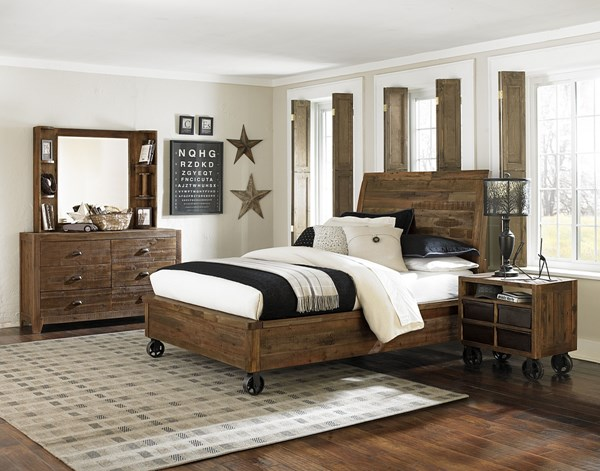 Braxton Transitional Distressed Natural Wood Kids Bedroom Set MG-Y2377