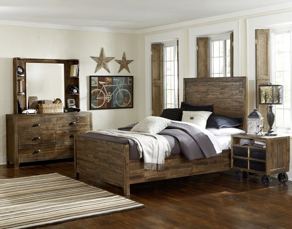 Braxton Distressed Natural Wood Glass 2pc Bedroom Set W/Full Bed MG-Y2377-BR-S4