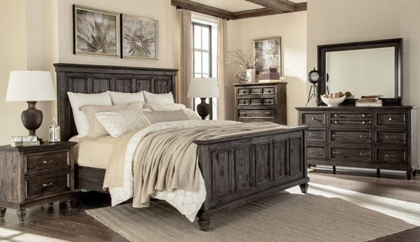 Calistoga Classic Charcoal Wood 2pc Bedroom Set W/Twin Panel Bed MG-Y2590-KBR-S1