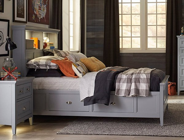 Graylyn Casual Grey Wood Bookcase Beds W/2 Storage Rails MG-Y3572-68SR-VAR