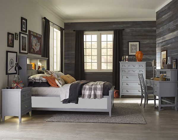Graylyn Casual Grey Wood 2pc Bedroom Set W/Twin Bookcase Bed MG-Y3572-KBR-S7