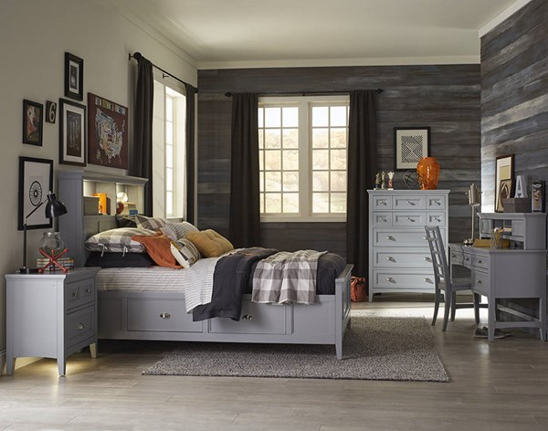Graylyn Casual Grey Wood 4pc Bedroom Set W/Bookcase Beds MG-Y3572-KBR-S-VAR2