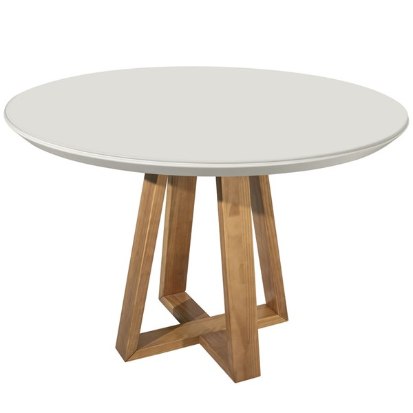 Manhattan Comfort Duffy Off White Wood Round Dining Table MHC-1018551