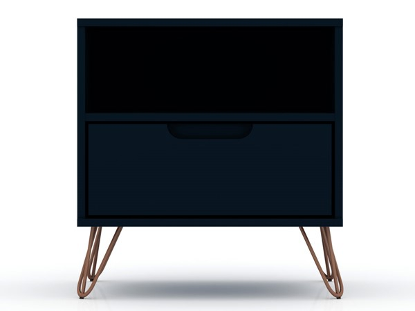 Manhattan Comfort Rockefeller 1.0 Blue MDF Night Stand MHC-101GMC4