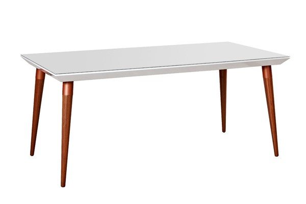 Manhattan Comfort Utopia White Gloss 62.99 Inch Rectangle Dining Table MHC-107451