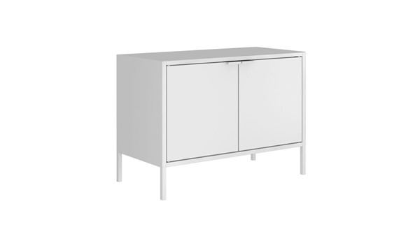 Manhattan Comfort Smart White 27.55 Inch Low Wide TV Stand Cabinet MHC-10GMC1