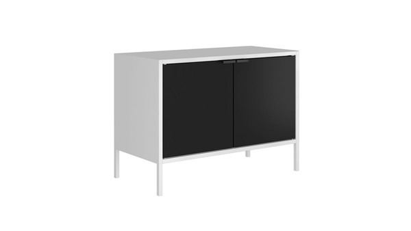 Manhattan Comfort Smart White Black 27.55 Inch Low Wide TV Stand Cabinet MHC-10GMC2
