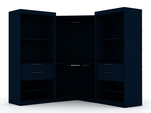 Manhattan Comfort Mulberry Blue 3pc Open Sectional Wardrobe Corner Closet MHC-111GMC4