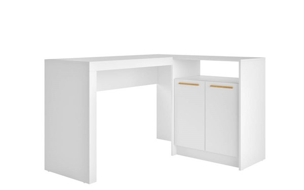 Manhattan Comfort Kalmar White L Shaped Office Desk MHC-138AMC6