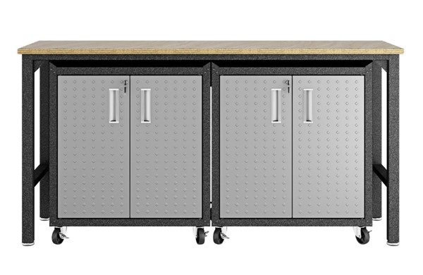 Manhattan Comfort Fortress Grey 3pc Cabinet and Work Table Set 1.0 MHC-14GMC