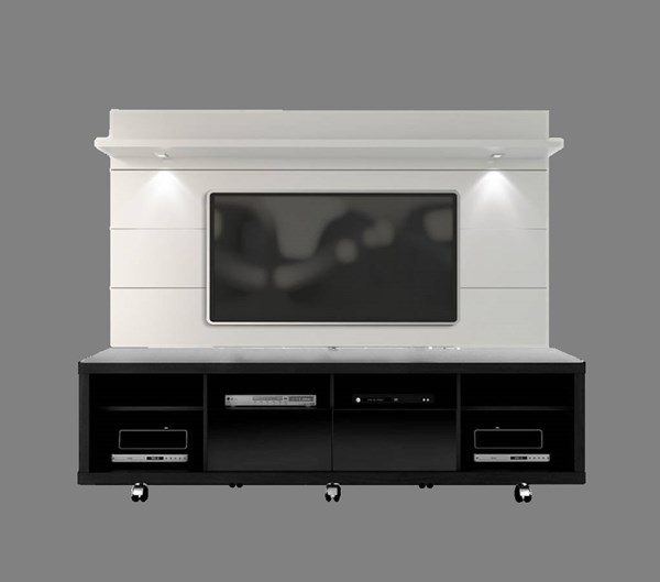 Cabrini 2.2 Black White Gloss MDF TV Stand And Floating Wall TV Panel MHC-15313-82352-ENT-S1