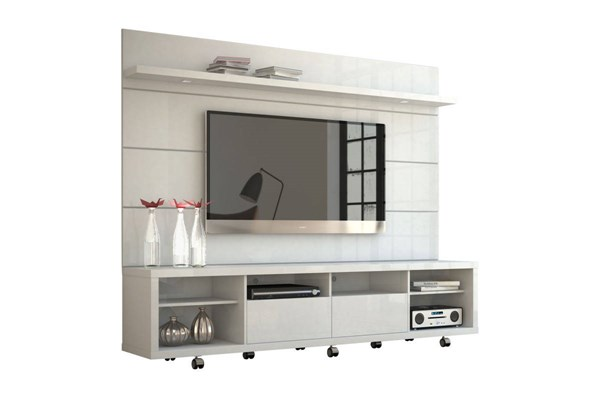 Cabrini White Gloss MDF Telescopic Slides Wheels TV Stand w/2.2 Panel MHC-15384-82352-ENT-S1