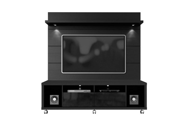 Cabrini Black MDF TV Stand w/1.8 Panel Entertainment Center MHC-15413-82253-ENT-S1