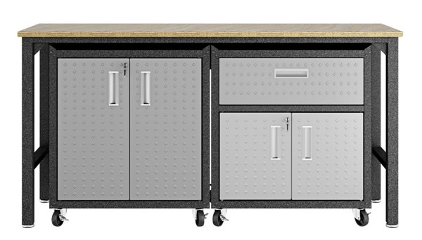 Manhattan Comfort Fortress Grey 3pc Cabinet and Work Table Set 2.0 MHC-15GMC