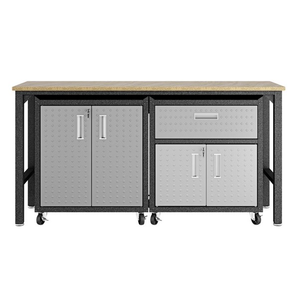 Manhattan Comfort Fortress 2.0 Grey 3pc Cabinet And Work Table Set MHC-15GMC